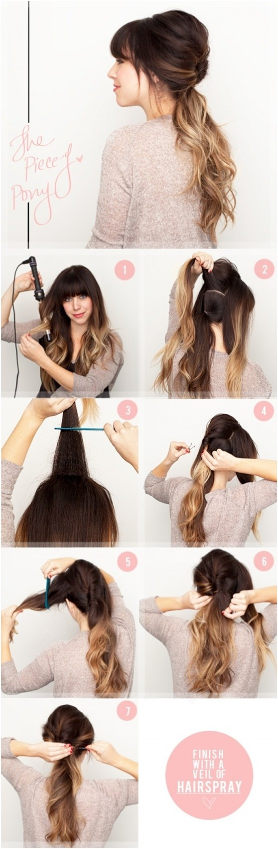 Style Your Hair Into A Regular Ponytail Take Section Of From The Back And Wrap It Around To Hide Elastic
